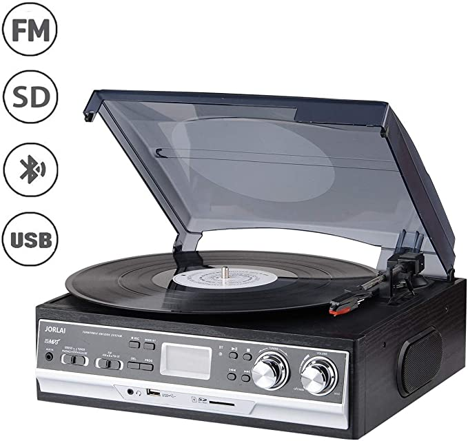 JORLAI 33/45/78 Tocadiscos con Pantalla LCD Radio FM Am ...