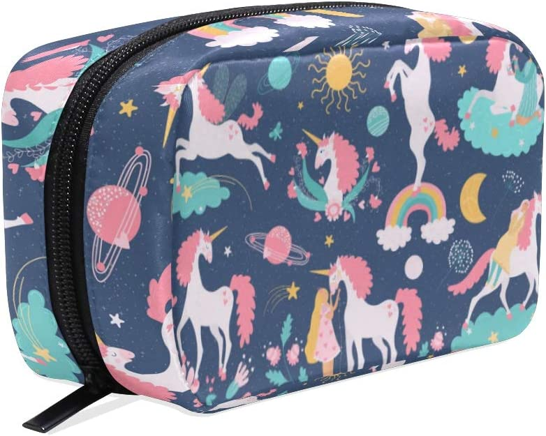 Ajinga unicornio mágico caballo fantasía animal niña neceser neceser cremallera neceser viaje bolso cuadrado para señoras maquillaje cepillo bolsa