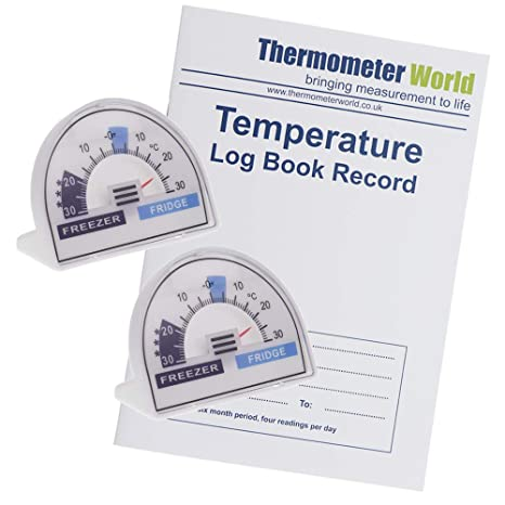 Libro de registro de temperatura con 2 termómetros para nevera con ...