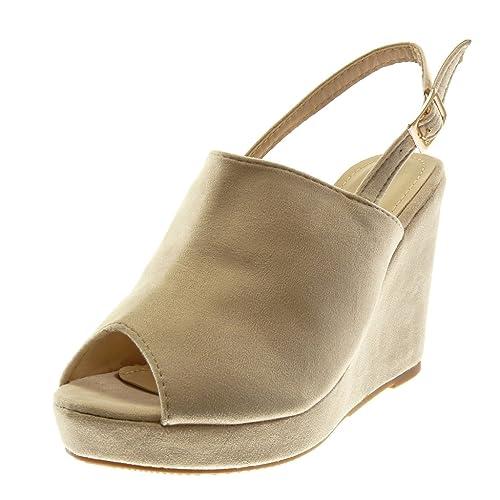 59bc96f7490f Angkorly - Scarpe Moda Mules Sandali Peep-Toe Zeppe con Cinturino alla  Caviglia Donna Tanga