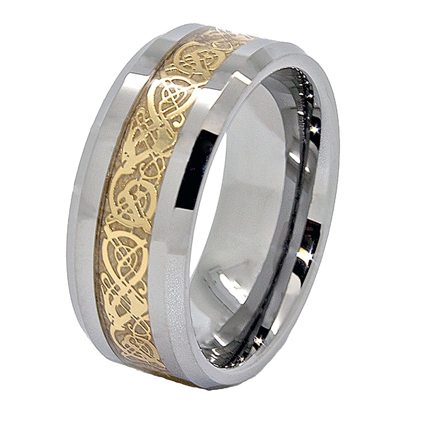 9mm Tungsten Wedding Ring with Golden Colored Celtic Dragon Inlay (US Sizes 7-15)