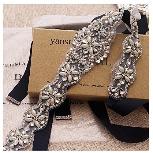 Yanstar Handmade Crystal Bridal Belts Sashes Navy Blue Wedding Belt With Rhinestones For Wedding Bridesmaid Dress (Silver-Navy)