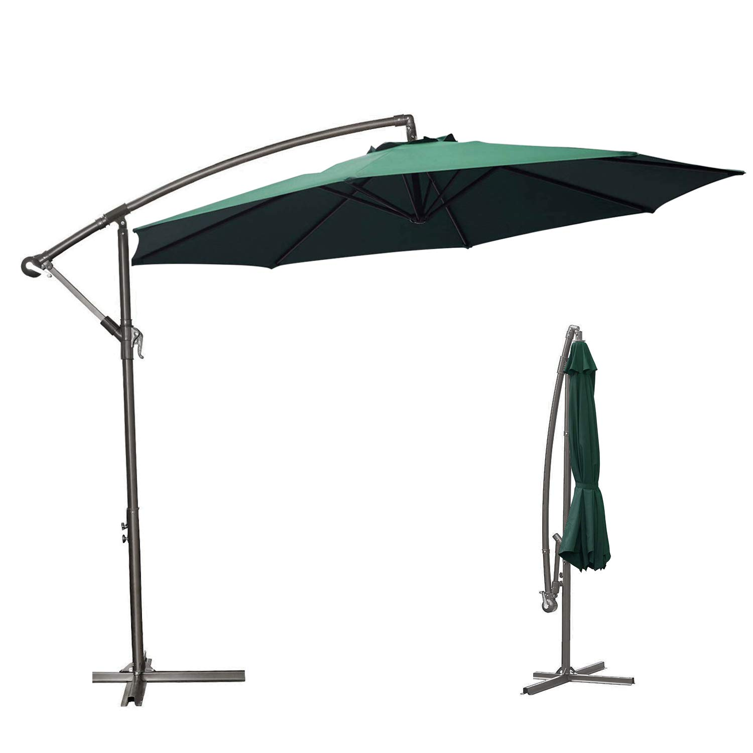 soges 10 Feet Patio Cantilever Umbrella Outdoor Offset Umbrella Market Hanging Umbrella with Tilt Adjustment Crank for Up Down, Atrovirens, LHTJXJS3AT
