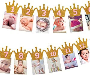 Symphony Birthday Photo Banner, 1st Birthday Baby Photo Banner Newborn to 12 Months Birthday Party Decor (Crown Golden Pink)