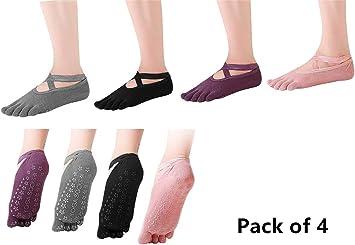 SANIQUEEN.G 4 Pares Algodón Full Toe Non Slip Skid Yoga Calcetines con Dedos Pilates para Mujeres (Estilo 3): Amazon.es: Deportes y aire libre