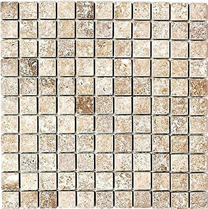 Mosaico Piastrelle Travertino pietra naturale Noce Noce ...