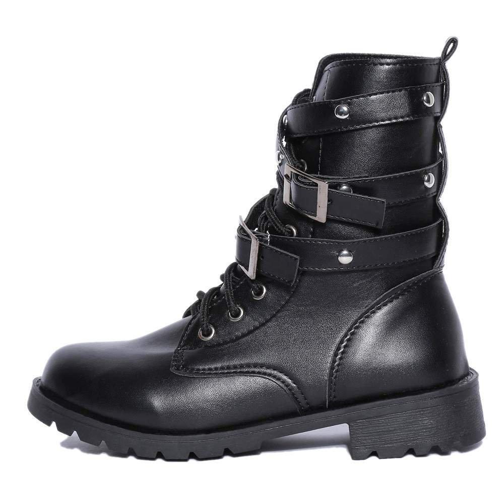 QUICKLYLY Zapatos de Mujer-Hebilla de Fondo Plano de Mujer con Grueso con Botas Martin Botas Cortas Botas de Moto Zapatos Solos