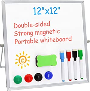 """Small Dry Erase White Board for Desk 12"""" X 12"""",Double Sided Whiteboard Includes 4 Magnetic Pens, 4 Magnetic Piece and 1 Dry Eraser, for Kids, Home, Office, School"""