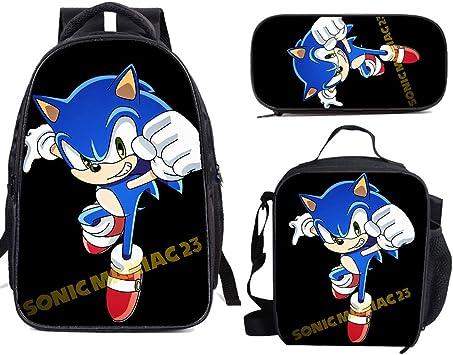 Son-Ic The He-Dge-Hog - Juego de mochila escolar con bolsa para el almuerzo, estuche para lápices, viaje ligero para niños y niñas: Amazon.es: Equipaje