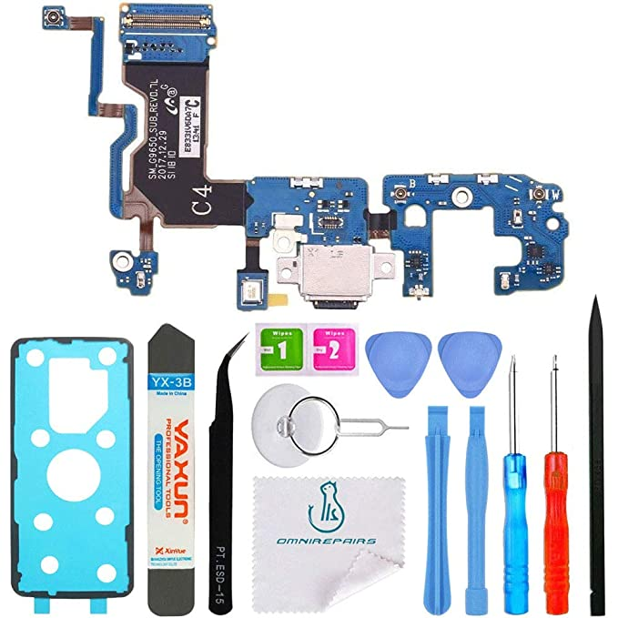 OmniRepairs Charging USB Dock Port Flex Cable Replacement with Microphone  and Coaxial Antenna Compatible for Samsung Galaxy S9 Plus Model (G965U)  with
