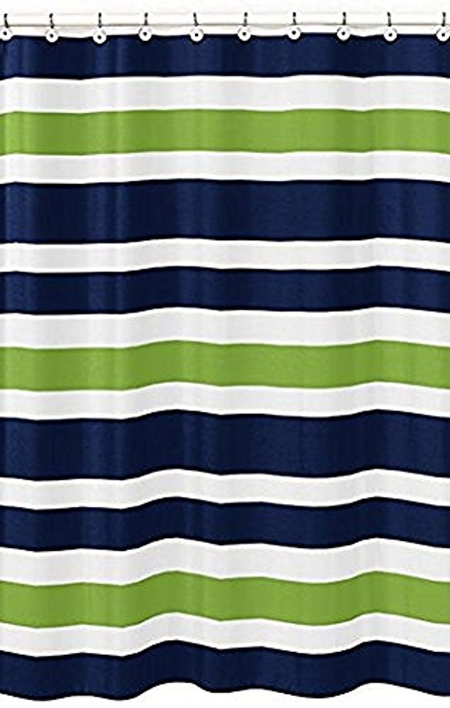 Fabric Shower Curtain: Nautical Stripe Design (Gray and White) Vandarllin