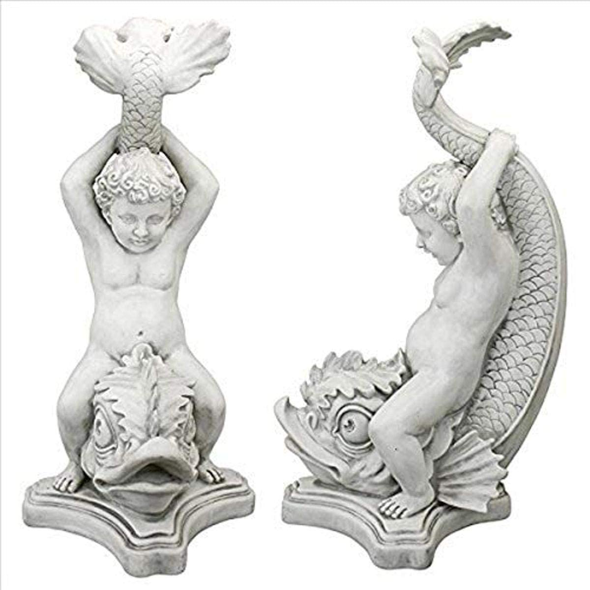 Design Toscano Boy on Dolphin Classical Garden Statue, Antique Stone