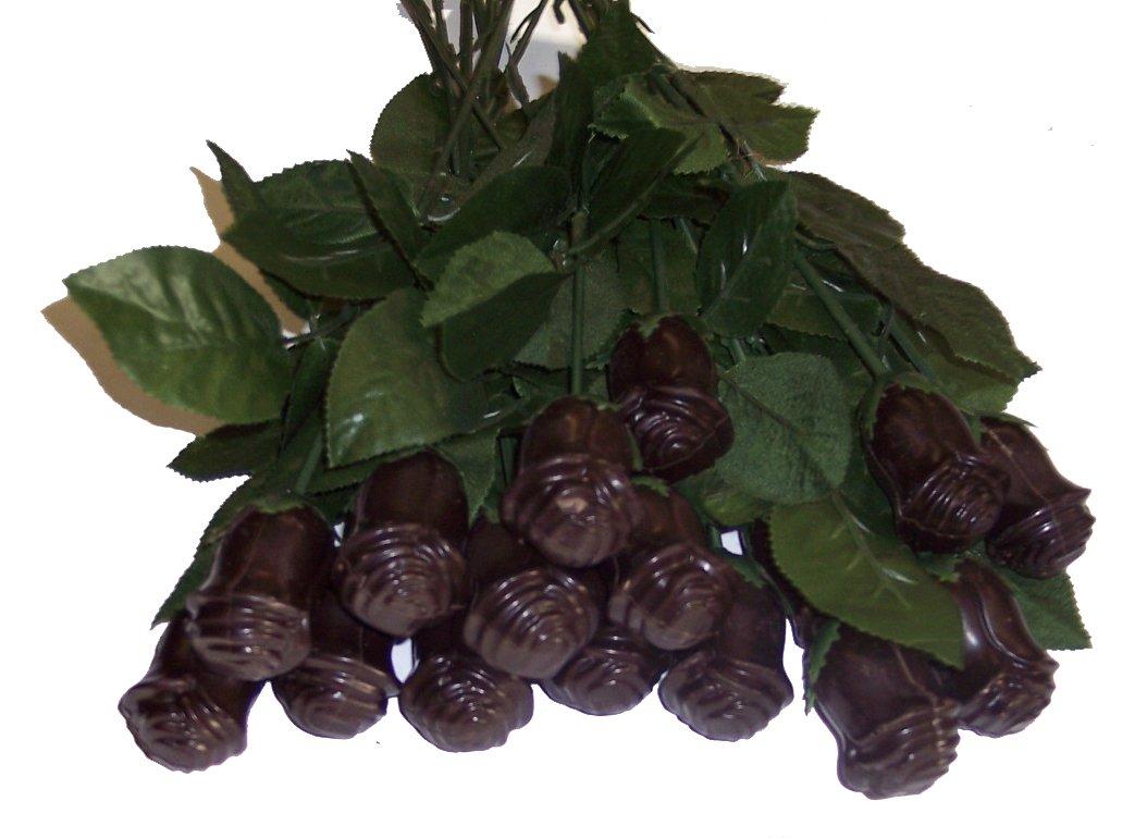 Amazon.com : Long Stem Solid Chocolate, 12 Dark Chocolate Roses ...