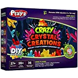 Playz Crazy Crystal Creations 27+ Geology & Earth Science Experiments Set - Make Crystalline Eggs & Starfish, Magical Gardens, Rainbow Flowers, Custom Geodes, & Secret Messages