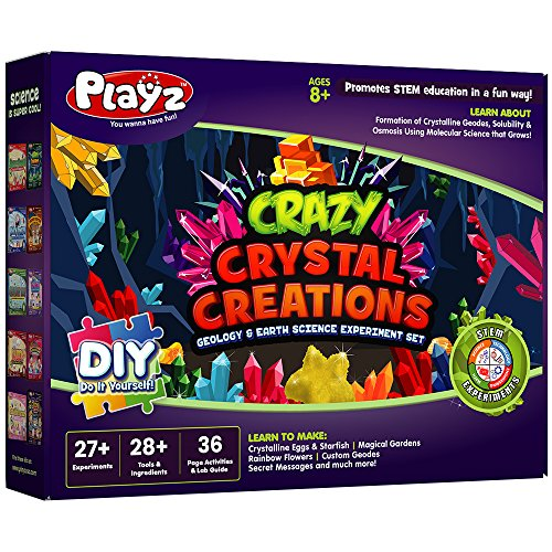 Playz Crazy Crystal Creations 27+ Geology & Earth Science Experiments Set - Make Crystalline Eggs & Starfish, Magical Gardens, Rainbow Flowers, Custom Geodes, & Secret Messages by Playz
