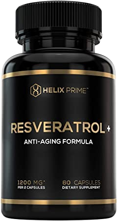 Resveratrol Supplement as Trans Resveratrol 1200mg Per Serving HELIX PRIME 60 Capsules Vegetarian Antioxidant Promotes Anti Aging Made in USA