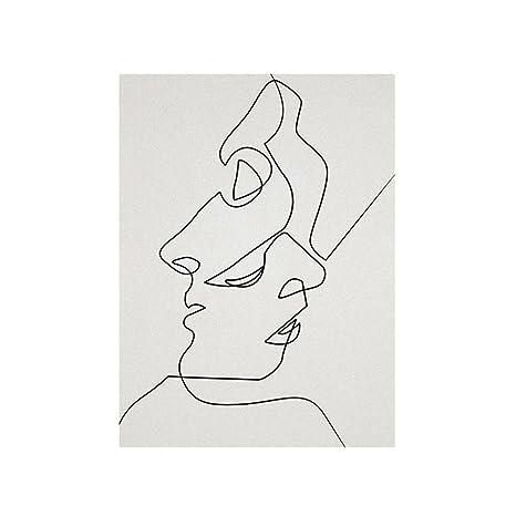 Ttkx At Dibujo De Una Línea Bocetos De Cara Minimalista Póster
