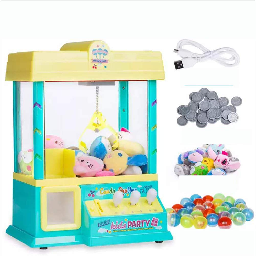 MOIMK Electronic Arcade Claw Machine-Kids Mini Arcade Grabber-with LED Lights and Adjustable Sound Switch with 24 Game Coins, 10 rag Dolls, 24 Dinosaur Eggs,Green