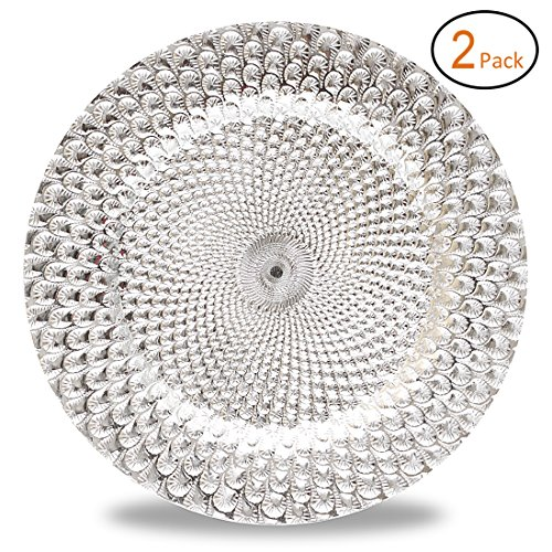 13 Inch Plastic Charger Plates with Eletroplating Finish (2, Peacock Pattern Silver) ()