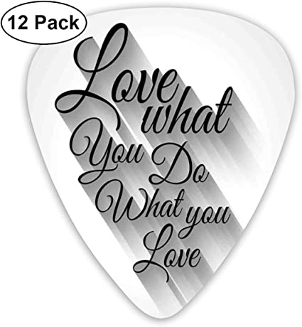 Guitar Picks 12-Pack,Manuscript Lettering Love What You Do What ...