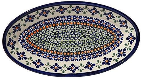 Polish Pottery Oval Serving Platter From Zaklady Ceramiczne Boleslawiec 1103-du60 Unikat Pattern, Dimensions: 11 Inch X 6.25 Inch ()
