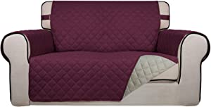 PureFit Reversible Quilted Sofa Cover, Spill, and Water Resistant Slipcover Furniture Protector, Washable Couch Cover with Non Slip Foam and Adjustable Strap for Kids, Pets (Loveseat, Wine/Beige)