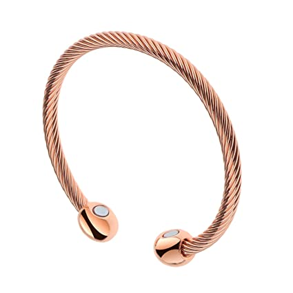 7bcc762357a Image Unavailable. Image not available for. Colour: ENET Magnetic Copper  Bracelet Therapy Arthritis Pain Bangle Healing Cuff ...