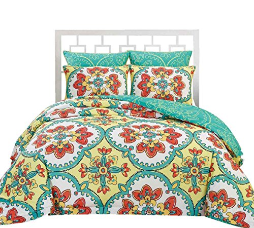 Couture Home Collection gardenia Reversible Vintage Vibrant Floral Design Soft Touch 6 Piece Comforter Bed Set (Yellow, King)