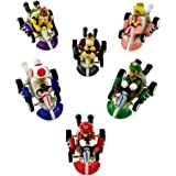 6 Mario Kart Pull Back Cars Cake Toppers 2 inch PVC Toys