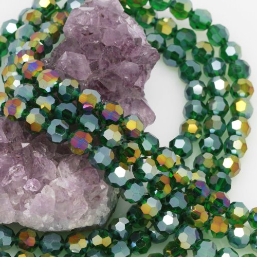 Beads Crystal Round Chinese Faceted (72 Pcs Chinese Crystal Glass Loose Beads Faceted Round 8mm Loose Spacer Green AB)