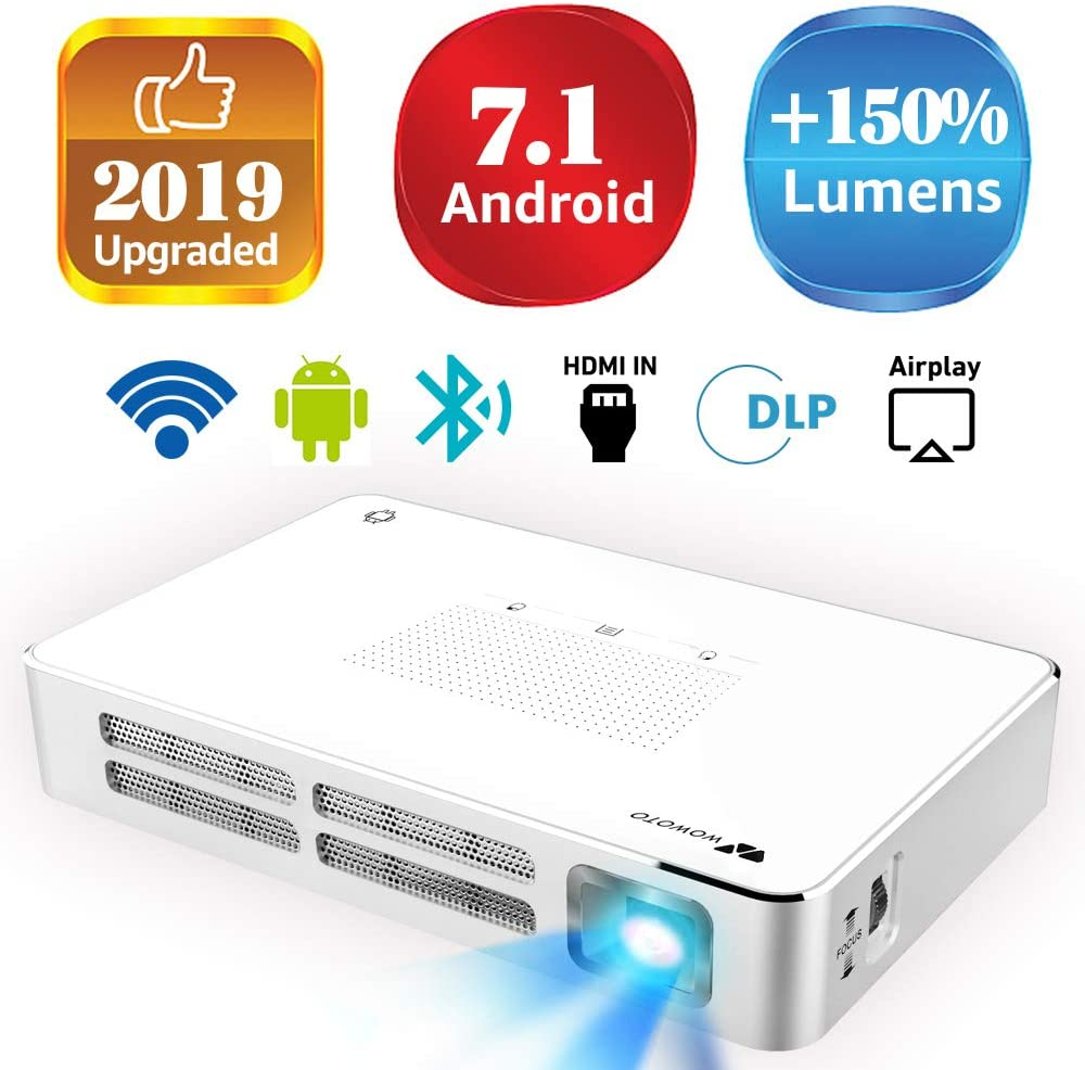 "Mini Projector WOWOTO A5 100ANSI Android 7.1 Portable DLP Video Projector 150"" Home Theater Projectors with BT4.0 Support WiFi Wireless Screen Share 1080P HDMI USB SD Card"