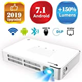 """Mini Projector WOWOTO A5 100ANSI Android 7.1 Portable DLP Video Projector 150"""" Home Theater Projectors with BT4.0 Support WiFi Wireless Screen Share 1080P HDMI USB SD Card"""
