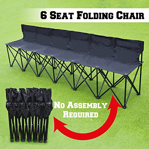 BenefitUSA Folding Portable Team Sports Sideline Bench 6 Seater Outdoor Waterproof- BLACK