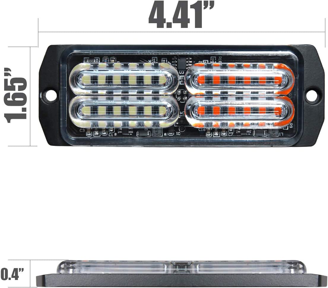 ASPL 4pcs Sync Feature 24-LED Surface Mount Flashing Strobe Lights for Truck Car Vehicle LED Mini Grille Light Head Emergency Beacon Hazard Warning lights Amber//White