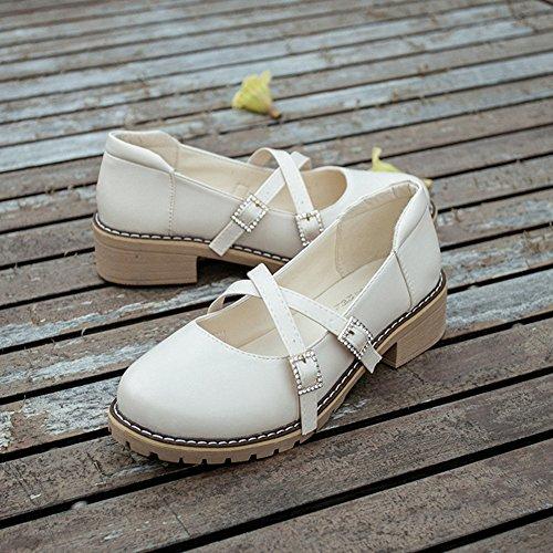Btrada Mujeres Sweet Round-toe Thick Heel Cruz Hebilla Oxford Zapatos Decoración Rhinestones Princesa Zapatos Beige