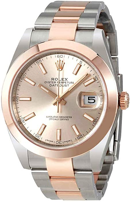 34ec19099373 Amazon.com  Rolex Datejust 41 Sundust Dial Steel and 18K Rose Gold Mens  Watch 126301SNSO  Watches