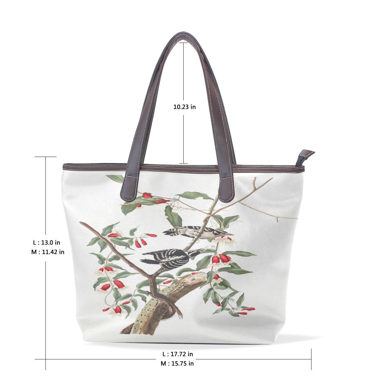 Mr.Weng Household Plate Downy Woodpecker Lady Handbag Tote Bag Zipper Shoulder Bag
