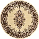 Cheap A2Z Rug Traditional Ivory 8′ Feet Round Mashad Collection Area rug Perfect for any floor & Carpet