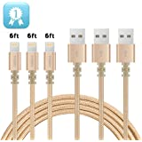 IPhone Charger TIMMY 3Pack 6FT Nylon Braided 8 pin Lightning cable certified to charging Cable with charging indictor powerline for iPhone 5/5C/5S/6S/6S PLUS/7/7 plus, iPad Air, and more (Gold)
