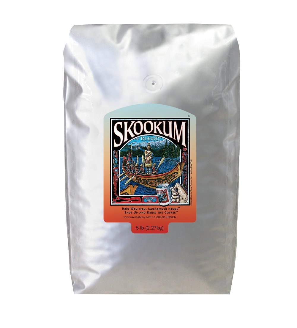 Ravens Brew Whole Bean Skookum Blend, Full City Roast 5-Pound Bag by Raven's Brew