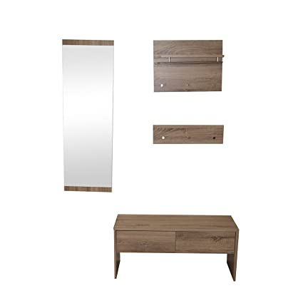 Piso Set de perchero de madera MDF Espejo Banco - Perchero ...