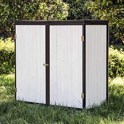 Caseta de jardín Blanco Doble puerta Caseta para herramientas y aperos Cobertizo Armario de jardín: Amazon.es: Jardín