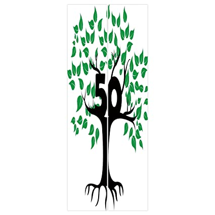 3d Door Wall Mural Wallpaper Stickers 50th Birthday DecorationsStylized Tree Icon With Number