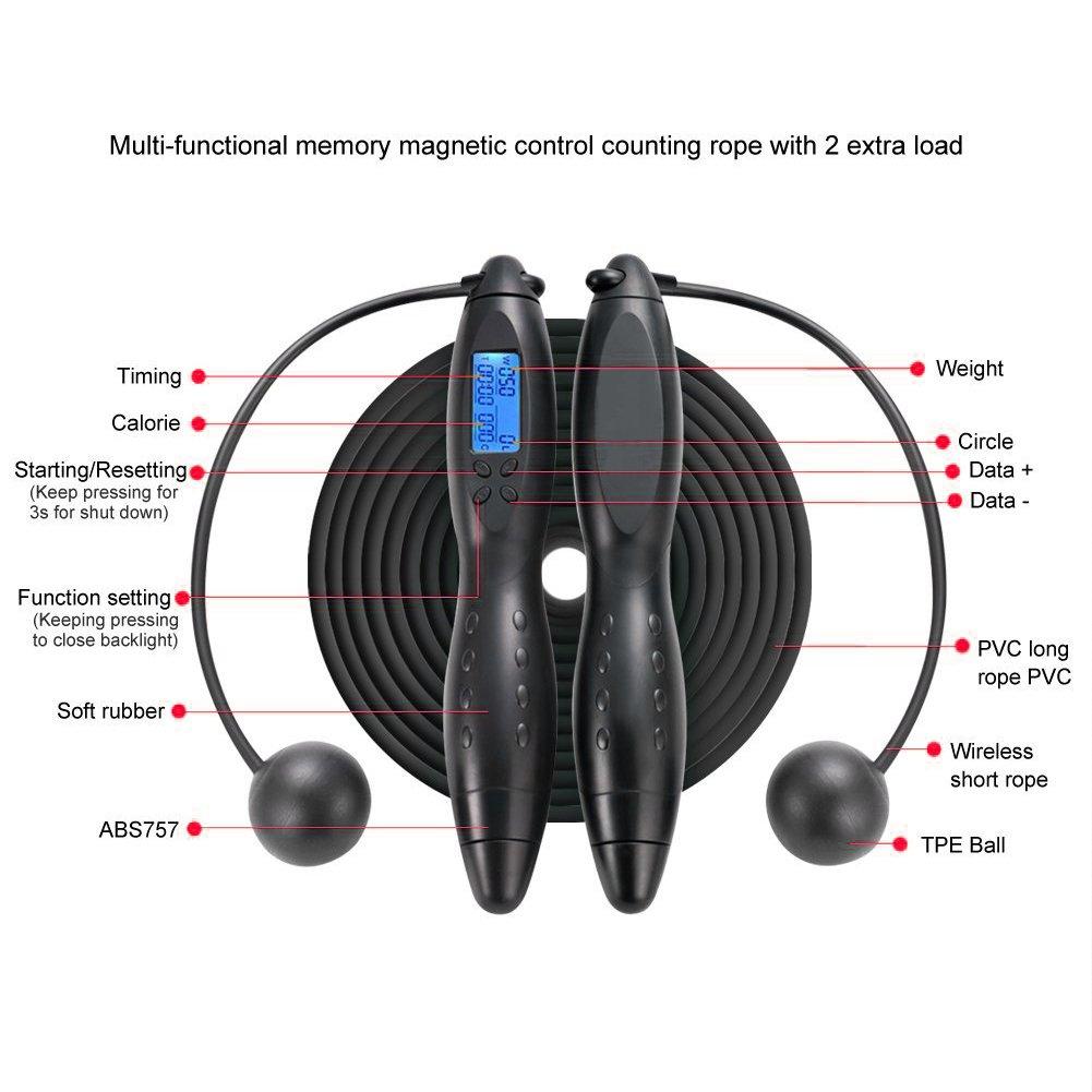 pour les sports /à l/'int/érieur et /à l/'ext/érieur V-joy /® Corde /à sauter num/érique 2/en/1 sans fil /à /écran LCD avec compteur de calories