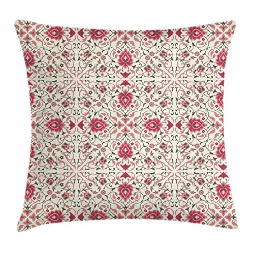 Traditional Throw Pillow Cushion Cover, Lotus Motif with Unfolding Petals Swirled Stalks and Leaves, Decorative Square Accent Pillow Case, 18 X 18 Inches, Forest Green Maroon Dried Rose