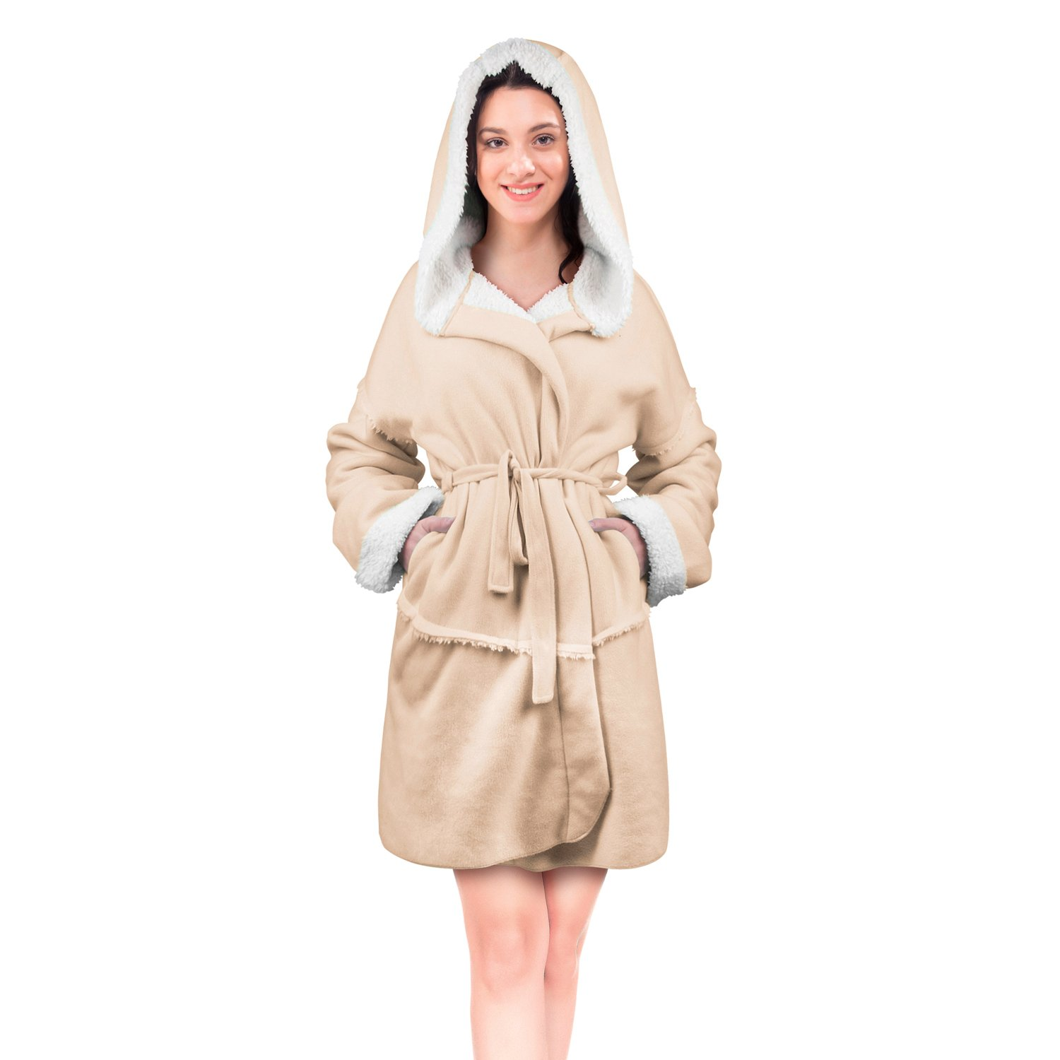 Catalonia Women Hooded Robe Short Soft Plush Bathrobe Fluffy Sherpa Lined Dressing Gown
