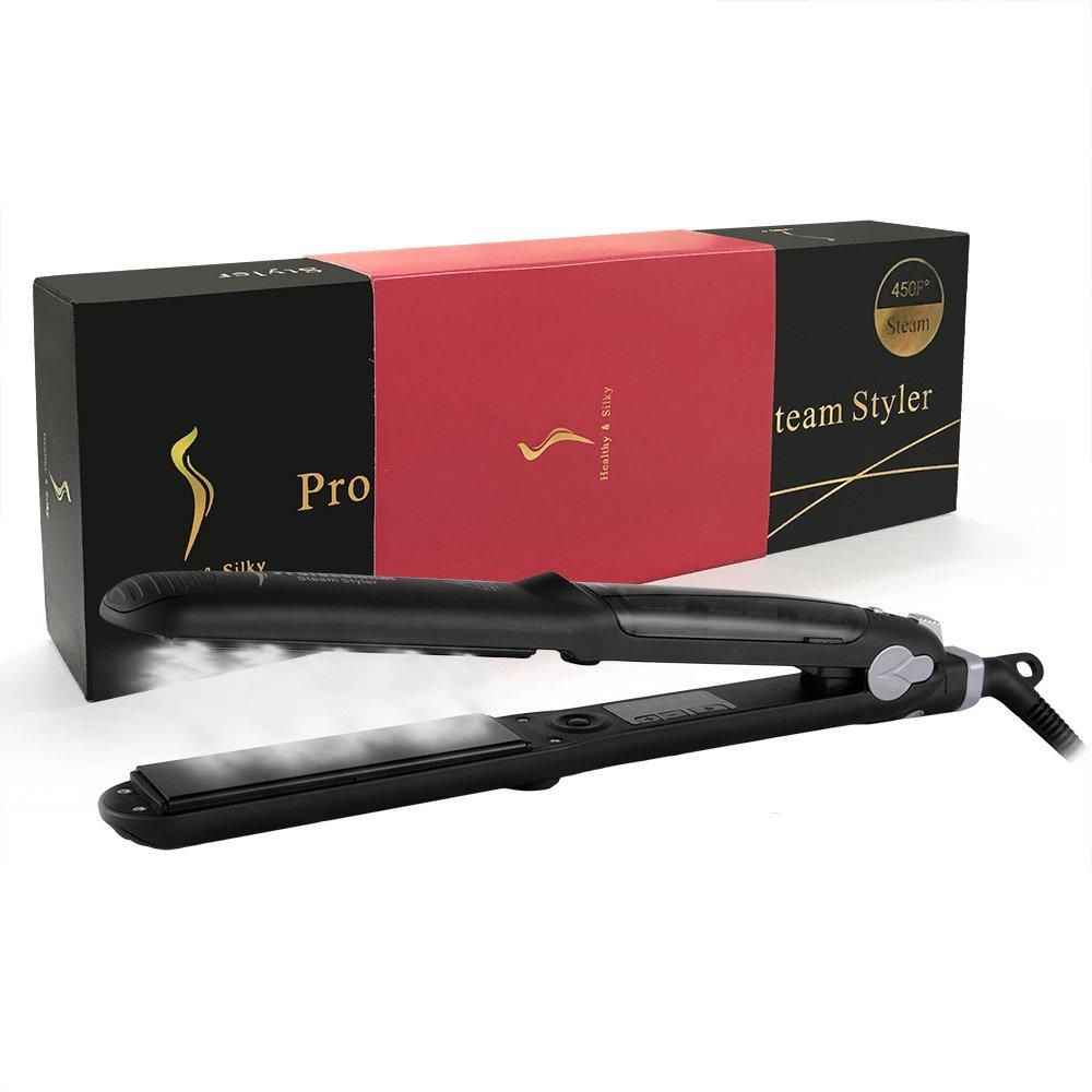 Steam Straighteners for Hair, Professional Salon Ceramic Tourmaline Vapor Steam Flat Iron Hair Straightener, Dual Voltage 2 in 1 Straightening Curling, LED Display with Adjustable Temp. by DORISILK (Image #9)