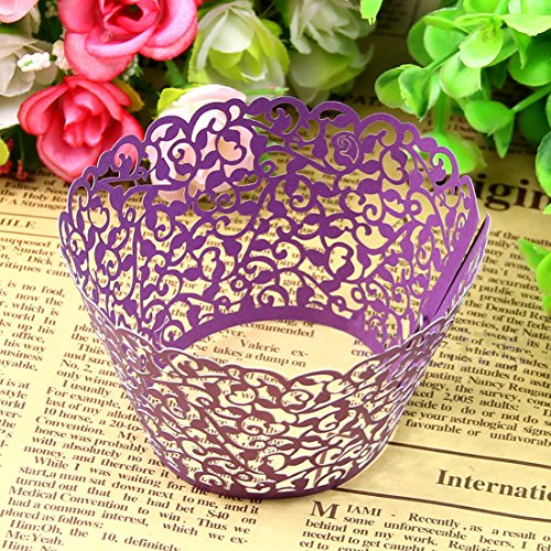 CY-buity 50Pcs Pearly Paper Vine Lace Cup Cake Wrappers Cupcake Tower Cake Decoration Supplies Purple