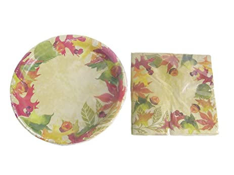 Fall Leaves Decorative Paper Plates Napkin And Table Cover Set (18 - 9 In  sc 1 st  Amazon.com & Amazon.com: Fall Leaves Decorative Paper Plates Napkin And Table ...