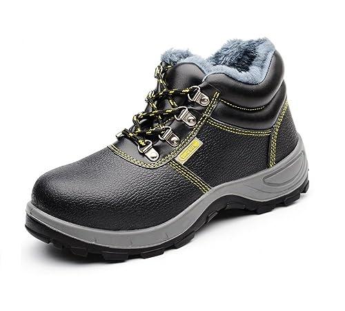 AILU Para Hombre de Piel de Botas Puntera de Acero de Seguridad de Seguridad S3 Tobillo Calzado de Protección: Amazon.es: Zapatos y complementos